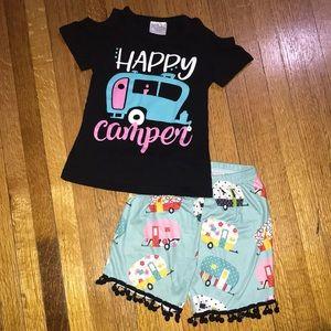 Like New Boutique Happy Camper Cold Shoulder Short